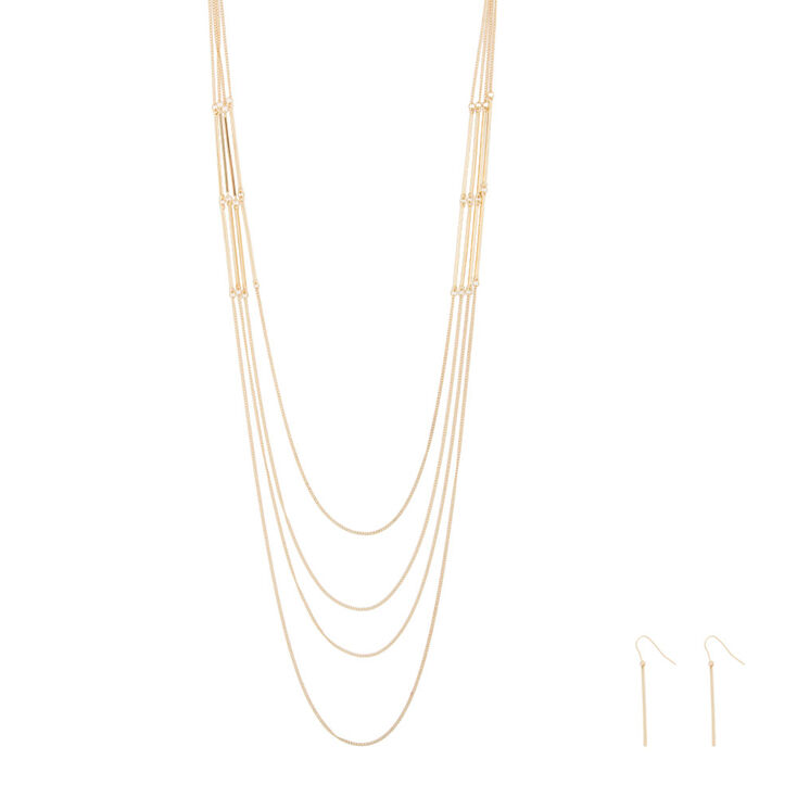 Gold Bar Multi Strand Necklace and Drop Earrings Set,