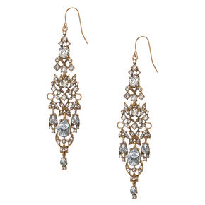 Antique Gold and Crystal Chandelier Drop Earrings,