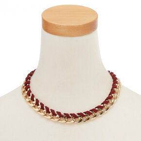 Gold-Tone and Burgundy Suede Wrapped Chain Necklace,