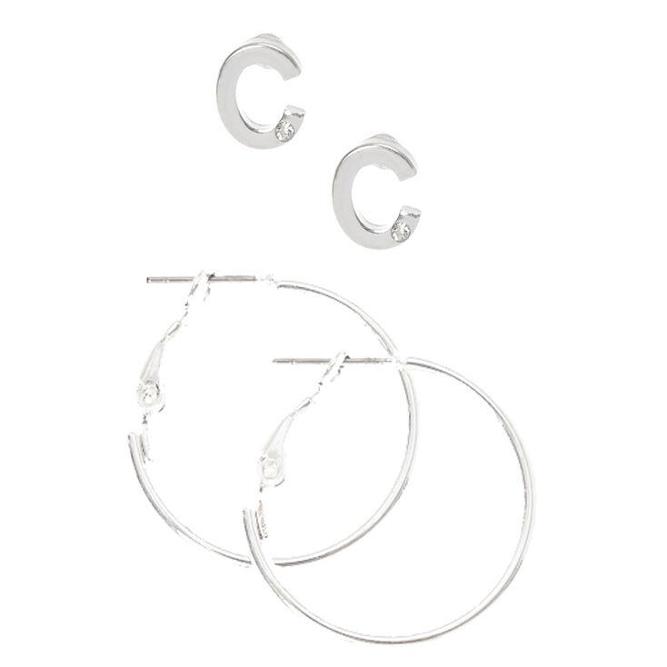 Silver Initial C Stud and Mini Hoop Earrings,