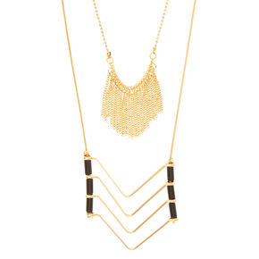 Chevron Necklace with Gold Fringe Accent,