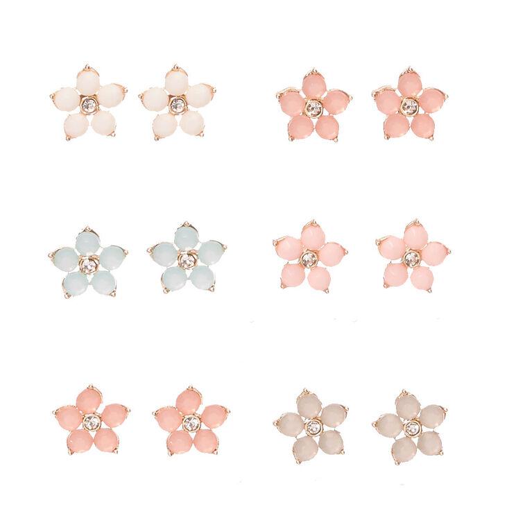 Gold-tone Framed Flower Gem Stud Earrings,