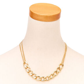 Gold Toned Chain Choker Necklace,