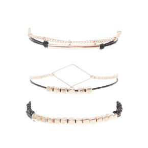 Black & Gold & Chain Cord Bracelet Set,