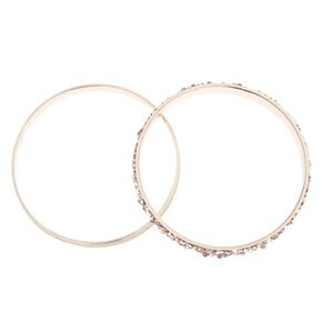 2-Pack Rose Gold Crushed Stone and Glitter Bangle Bracelets,
