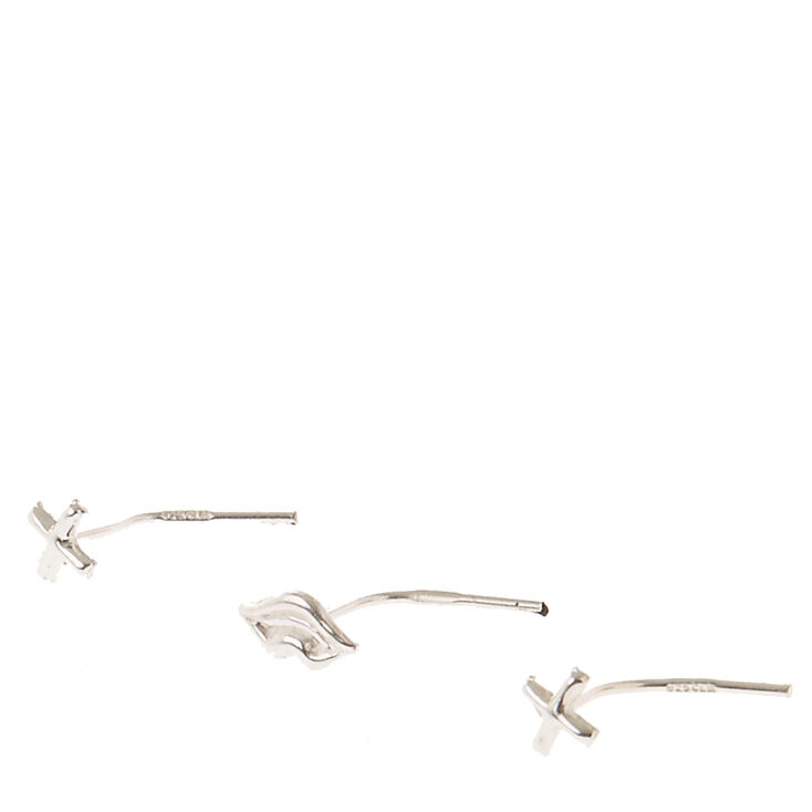 22G Sterling Silver Nose Studs Set of 3,