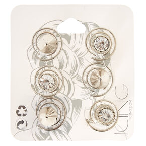 Silver Spiked Crystal Hair Spinners,