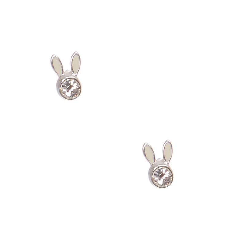 925 Sterling Silver Crystal Bunny Face Stud Earrings,