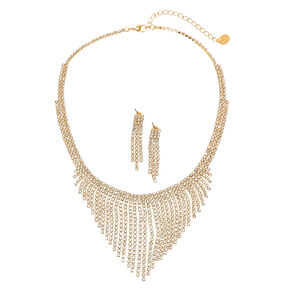 Gold-tone and Faux Crystal Fringe Earrings and Necklace Set,