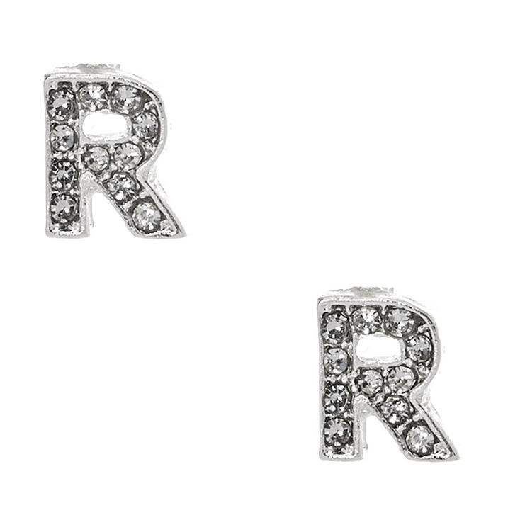 Silver-tone Clear Crystal Initial Letter R Stud Earrings,