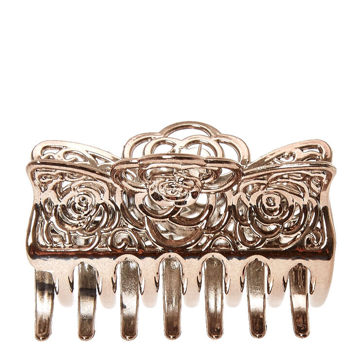 Silver Filigree Rose Hair Claw at Icing in Victor, NY | Tuggl