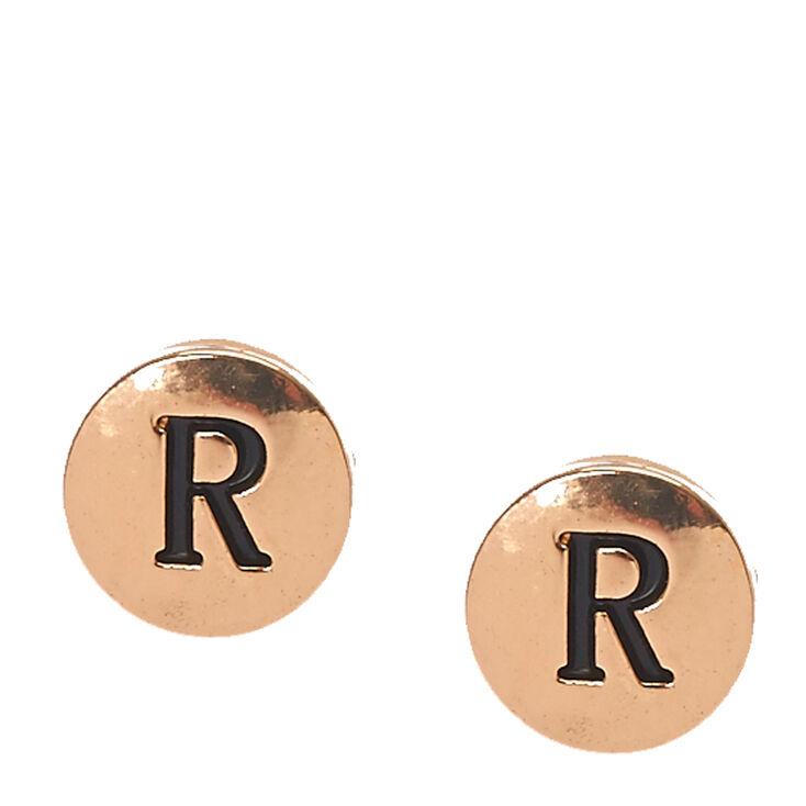 Gold-Tone Initial R Stud Earrings,