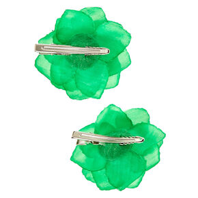 Kelley Green Chiffon Flower Set of 2 Hair Clips,