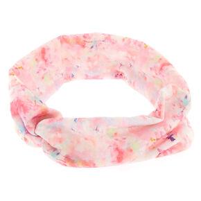 Pink Floral Wide Jersey Headwrap,