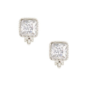 8MM Square Cut Cubic Zirconia Clip-on Stud Earrings,