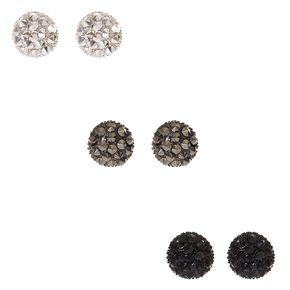 Mixed Metal Spiky Dome Stud Earrings,