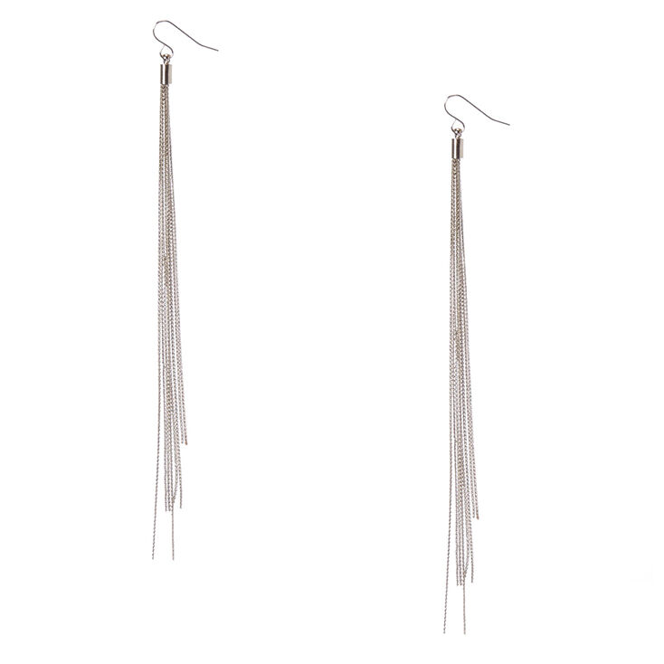 Silver-Tone Long Multi-Strand Drop Earrings,