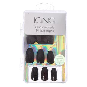 Matte Black Snake Skin Faux Nails,