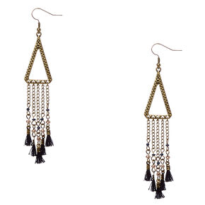 Gold-tone Open Triangular and Tassel Fringe Drop Earrings,