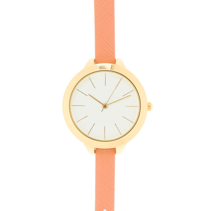 Coral Faux Leather Wristwatch,