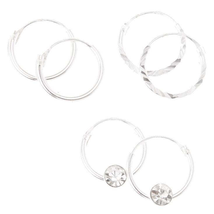 Sterling Silver 3 Pack Textured & Crystal Hoop Earrings Set,