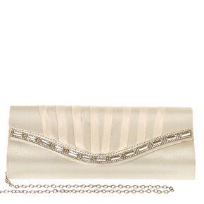 Ivory Pleated Jeweled Clutch,