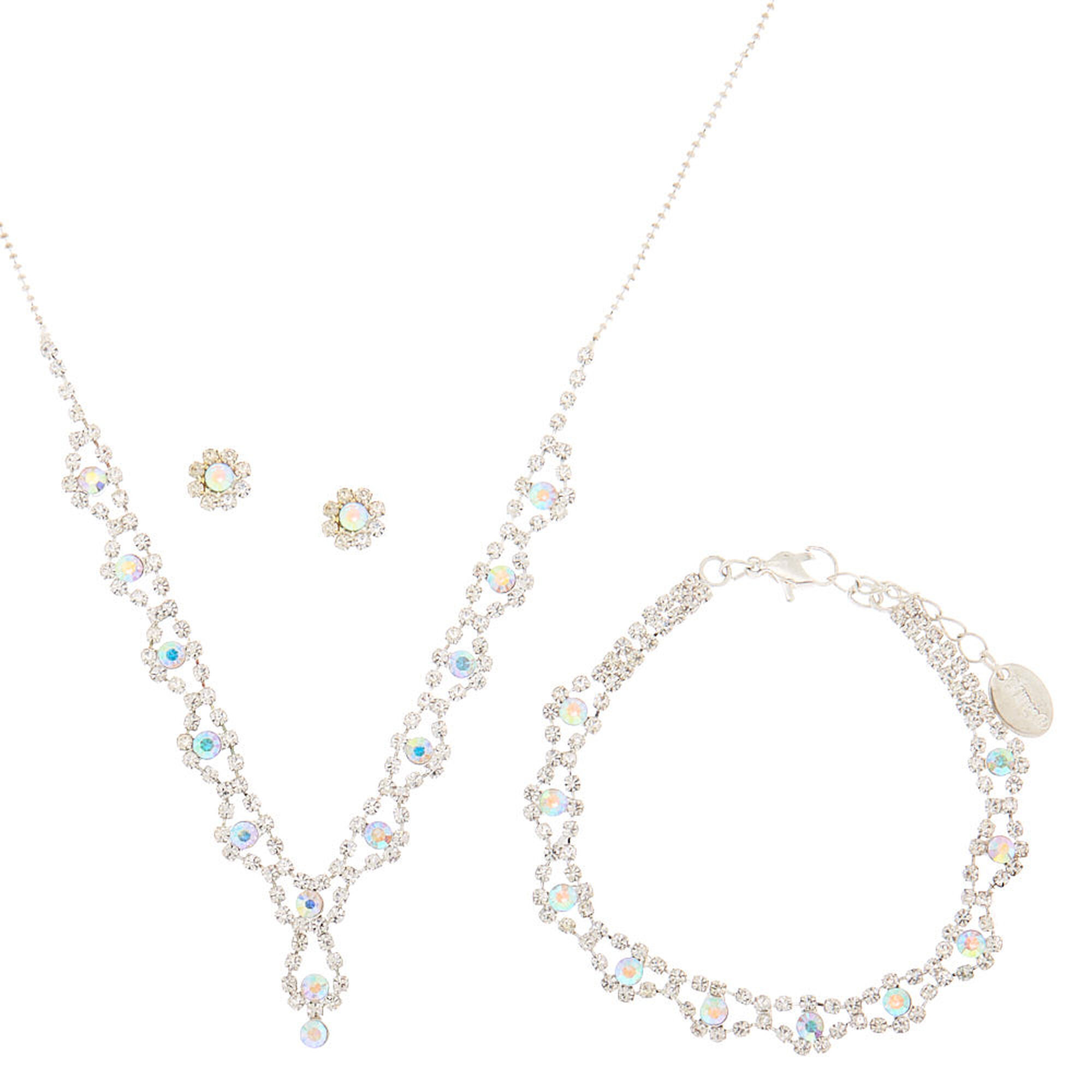 Clear Rhinestone And Aurora Borealis Crystal Scalloped Y Necklace, Bracelet  And Flower Stud Earrings Set Of 3