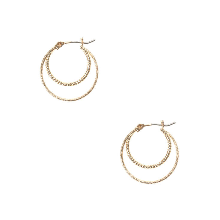 Gold Laser Cut and Hammered Double Circle Hoop Earrings at Icing in Victor, NY | Tuggl