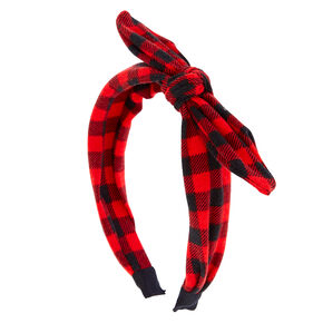 Red and Black Buffalo Check Bow Headband,