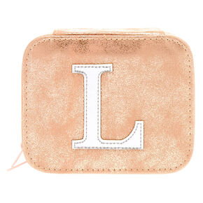 "Blush Pink ""L"" Initial Jewelry Case,"