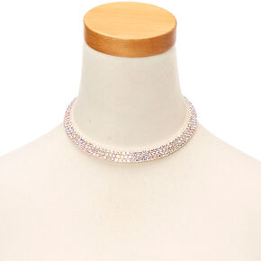 Silver Tone Bling Choker Necklace,