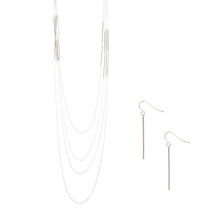 Silver Bar Multi Strand Necklace and Drop Earrings Set,