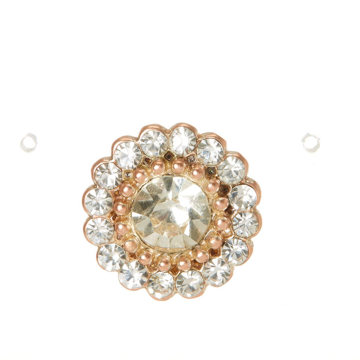 15MM Rose Gold and Crystal Flower Stud Earrings,