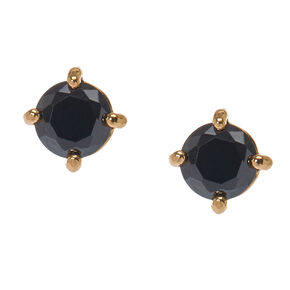 Gold-tone Framed Round Black Cubic Zirconia Stud Earrings,