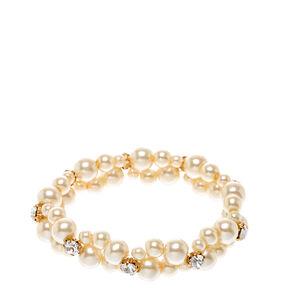 Double Row Faux Ivory Pearl Bracelet,