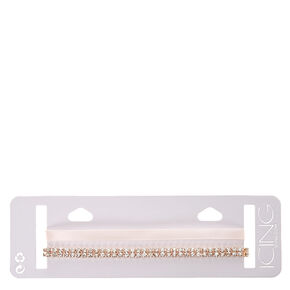 Double Layered Blush Rhinestone and Satin Choker,