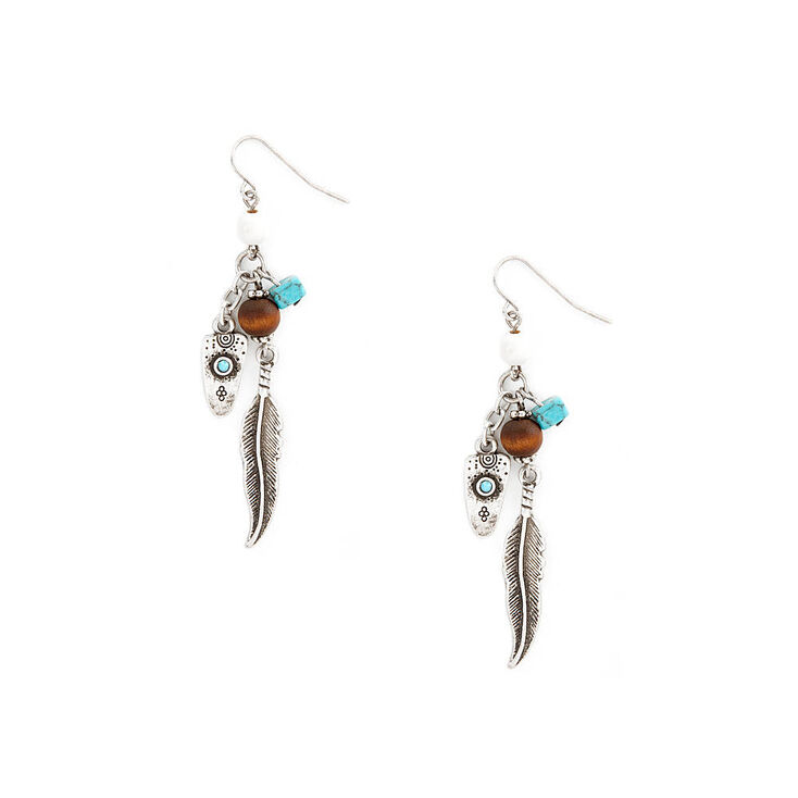 Antique Silver and Turquoise Southwestern Charms Drop Earrings,