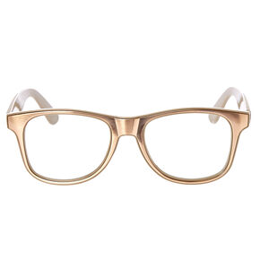Retro Tan Metallic Fake Glasses,