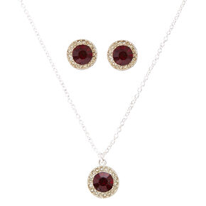 Round Red Cubic Zirconia Jewelry Set,