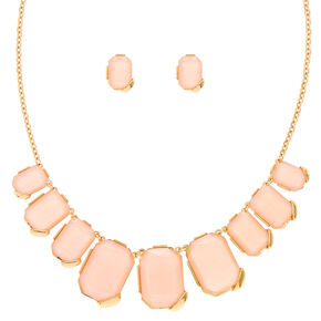 Blush and Gold-Tone Chunky Gem Statement Necklace,
