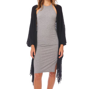 Solid Black Fringe Kimono,