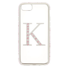 "Pink Stone ""K"" Initial Phone Case,"