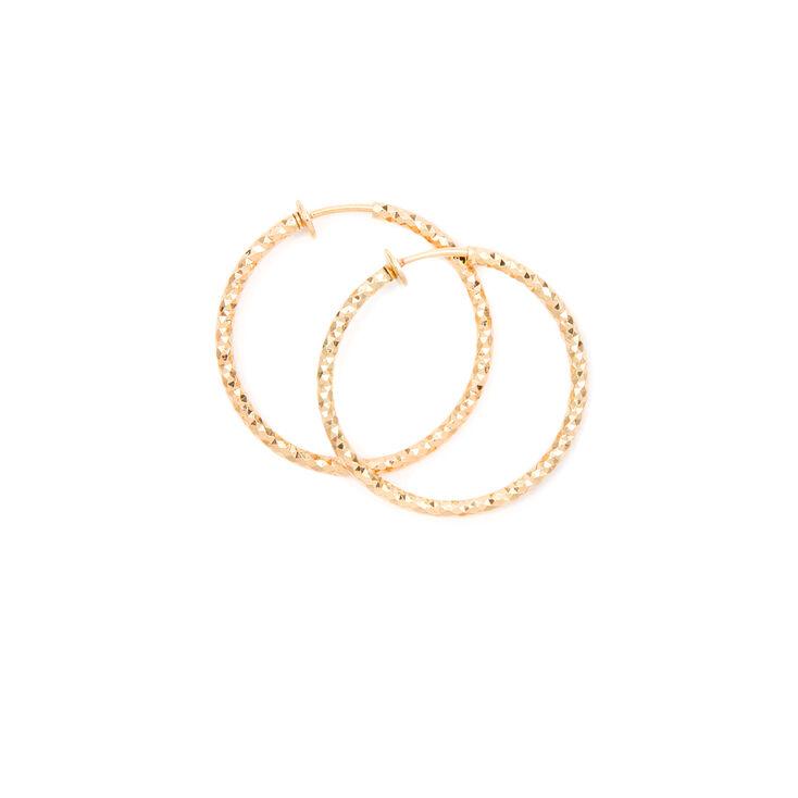 30MM Diamond Cut Spring Clip Hoop Earrings,