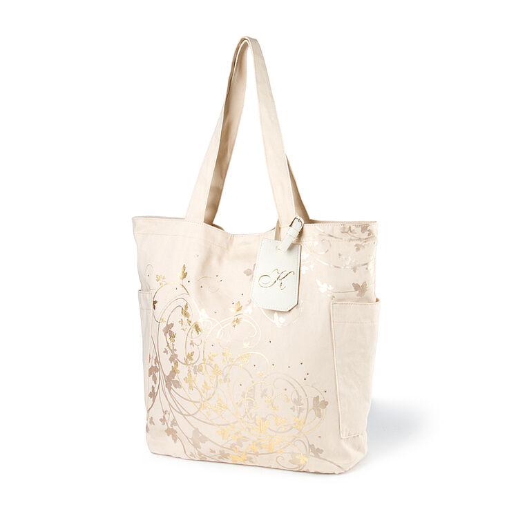 Bridesmaid Canvas Tote Bag with Initial Tag,