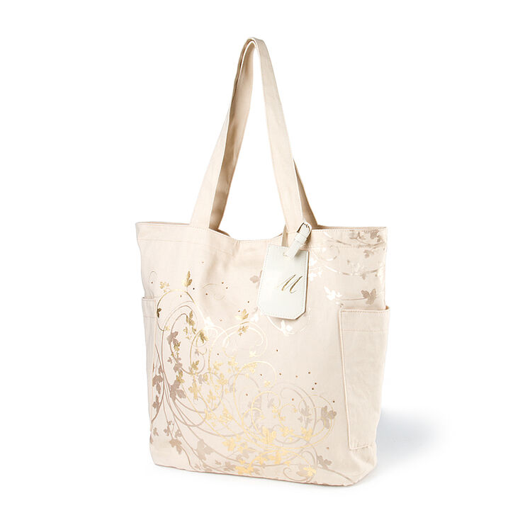 Bridesmaid Canvas Tote Bag with M Initial Tag,