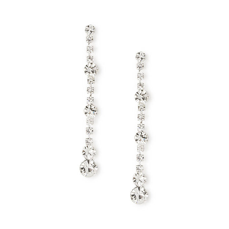 Rhinestone Chain and Crystals Linear Drop Earrings,