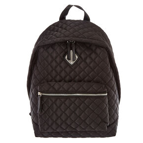 Black Quilted Oversized Backpack,