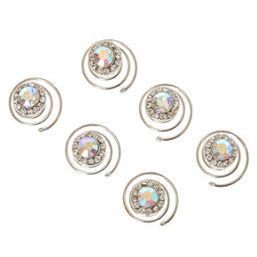 Iridescent Rhinestone Round Crystal Hair Jewels Set of 6,