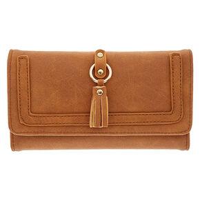Tan Faux Leather Tech Wallet,