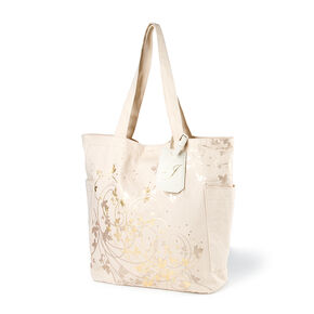 Bridesmaid Canvas Tote Bag with J Initial Tag,